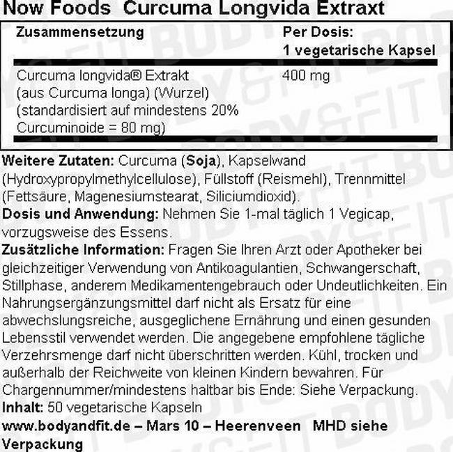 Curcuma Longvida Extract Nutritional Information 1