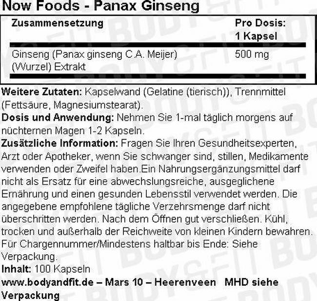Panax Ginseng Nutritional Information 1