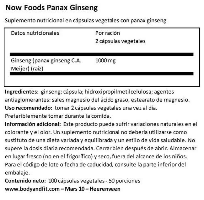 Ginseng Panax Nutritional Information 1