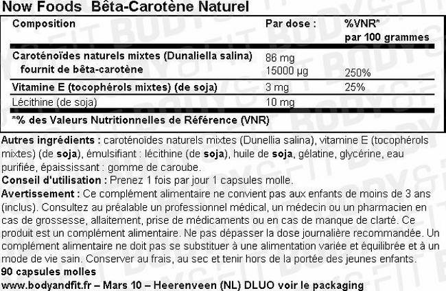 Bêta-Carotène Naturel Nutritional Information 1