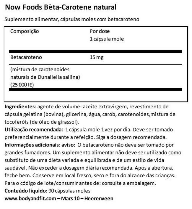 Betacaroteno Nutritional Information 1