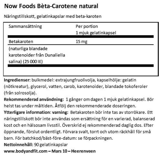 Beta Carotene Nutritional Information 1