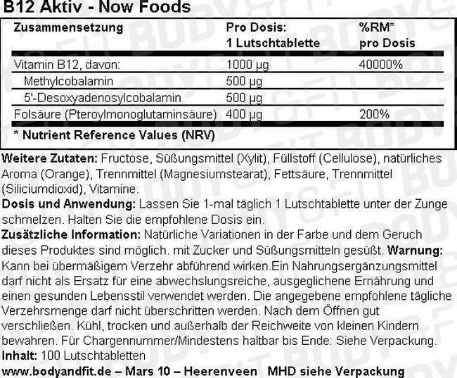 B12 Aktiv Nutritional Information 1