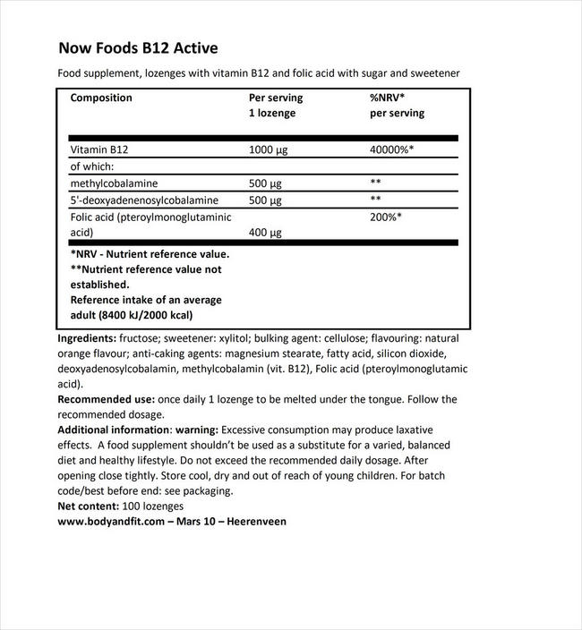 B12 Active Nutritional Information 1