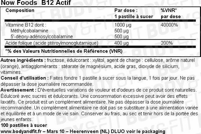 B12 Actif Nutritional Information 1