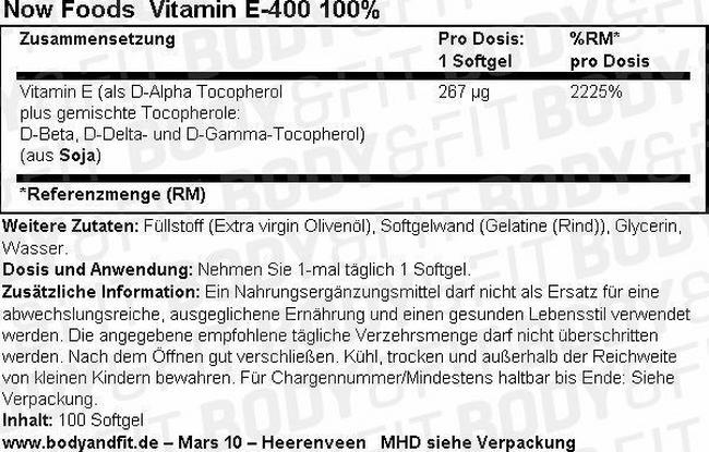 Natürliches E-400 Nutritional Information 1