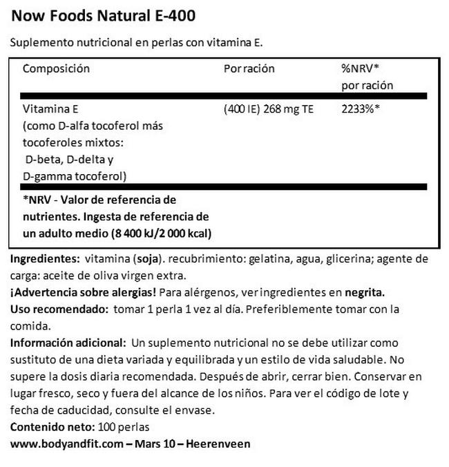 Natural Vitamin E 400 Nutritional Information 1