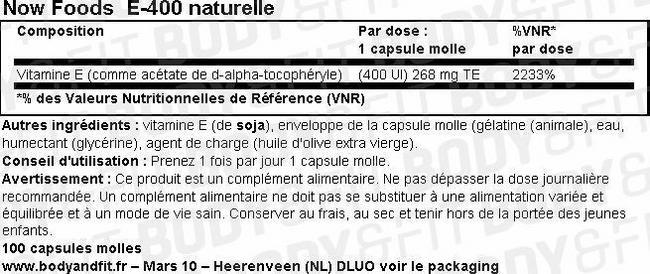 Vitamine E-400 naturelle Nutritional Information 1