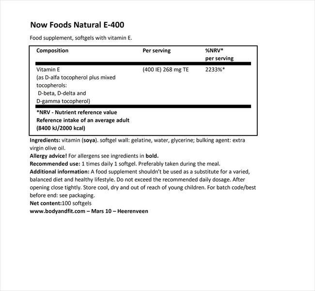 ナチュラルビタミンE 400 Nutritional Information 1