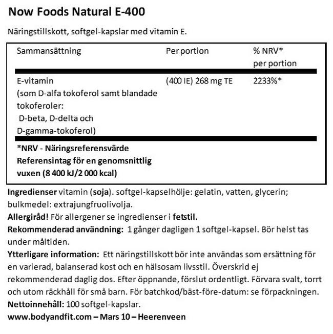 Natural Vitamin E-400 Nutritional Information 1