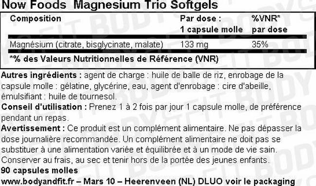 Magnesium Trio Softgels Nutritional Information 1