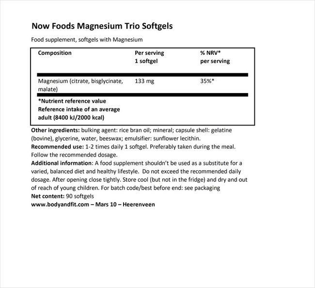 マグネシウムトリオ ソフトジェル Nutritional Information 1