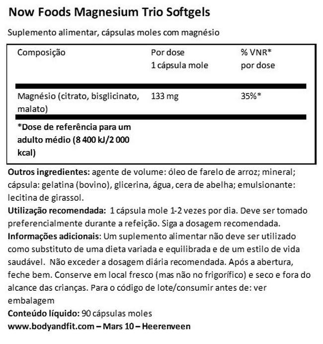 Magnesium Trio soft gels Nutritional Information 1