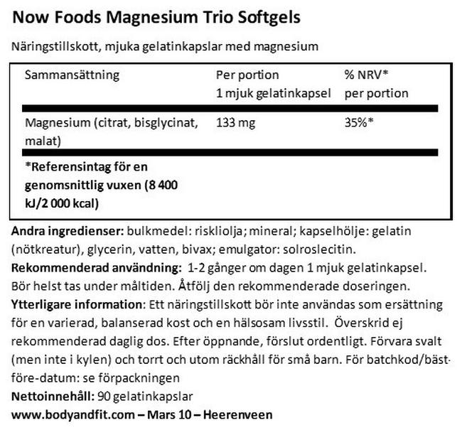 Magnesium Trio Soft Gels Nutritional Information 1