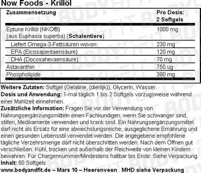 Krillöl 500 mg Nutritional Information 1