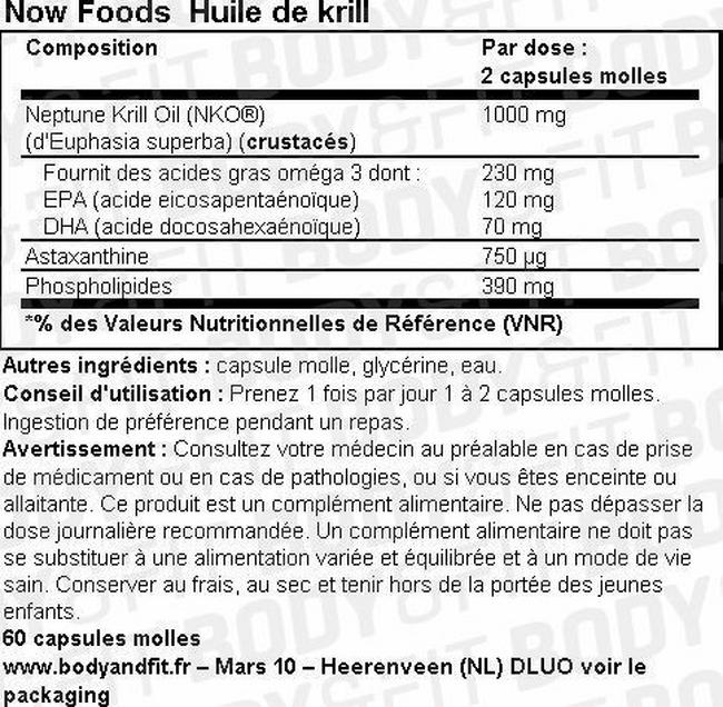 Krill Oil 500 mg Nutritional Information 1