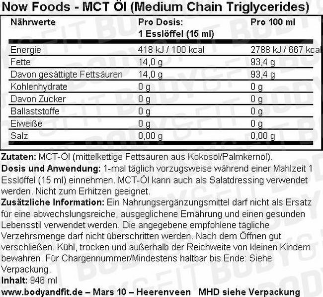 MCT-Öl (Medium Chain Triglycerides) Nutritional Information 1
