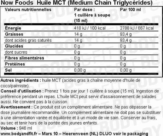 Huile MCT (Medium Chain Triglycerides) Nutritional Information 1
