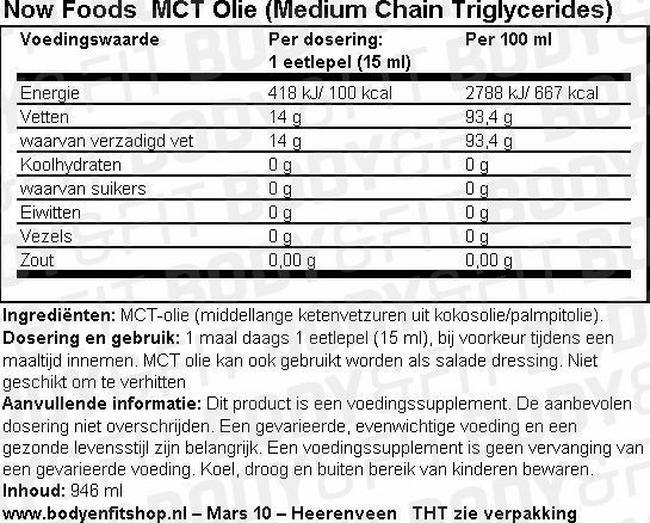 MCT Olie (Medium Chain Triglycerides) Nutritional Information 1