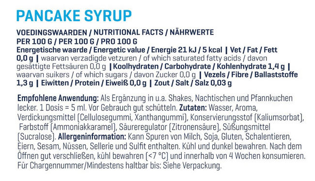 Pancake Syrup - Zero Nutritional Information 1