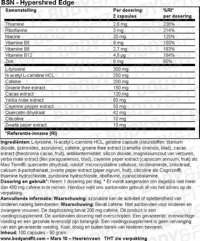 Hypershred Edge Nutritional Information 1