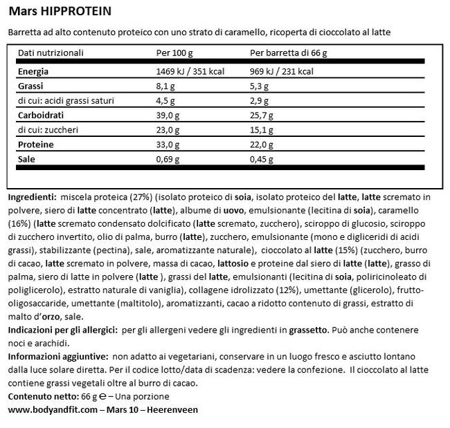 Barretta Mars HiProtein Nutritional Information 1