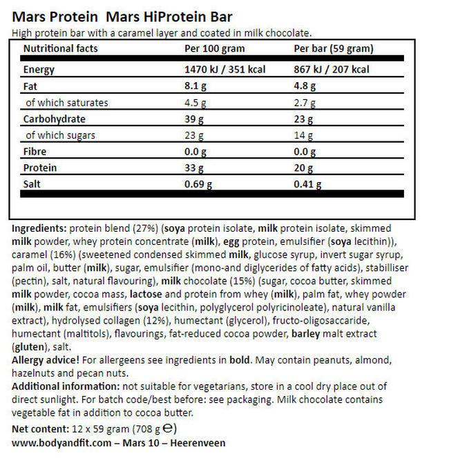 Mars 하이프로틴 바 Nutritional Information 1