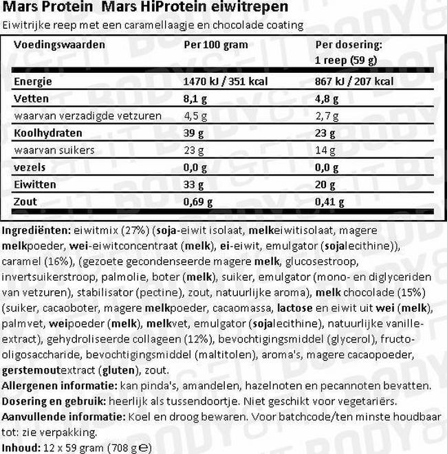 Mars HiProtein Eiwitrepen Nutritional Information 1