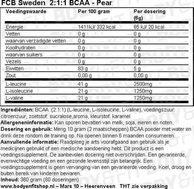 2:1:1 BCAA Nutritional Information 1