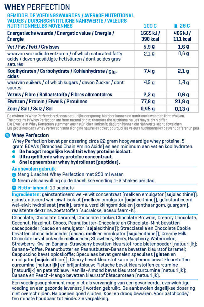 Whey Perfection® Bestseller Box Nutritional Information 1