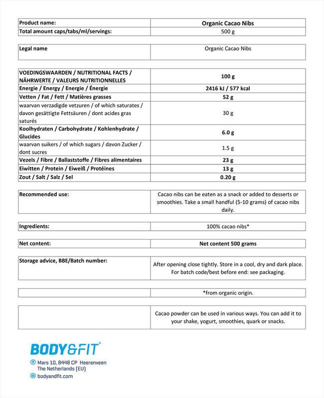 オーガニックカカオニブ Nutritional Information 1