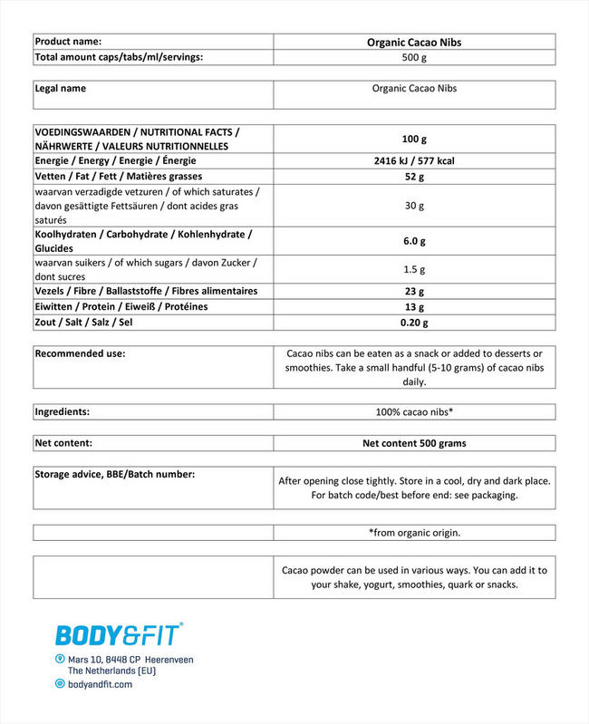 Organic cacao nibs Nutritional Information 1