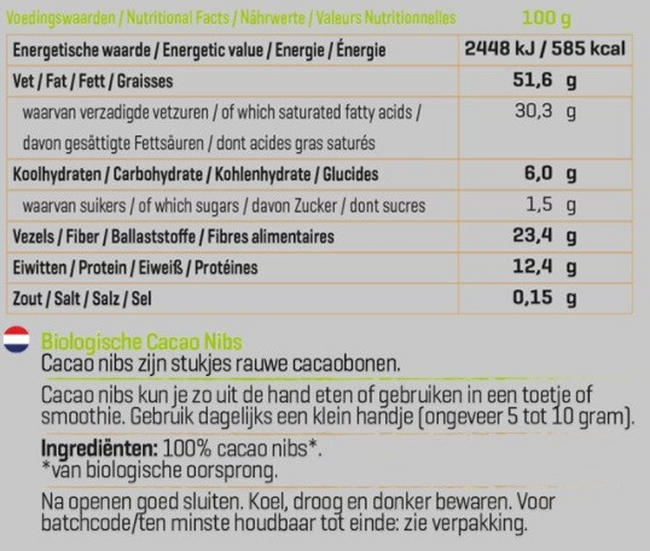 Cacao Nibs - Biologisch Nutritional Information 1
