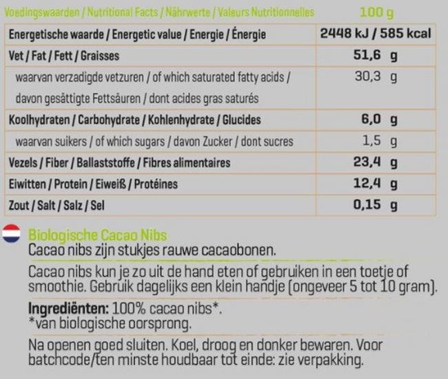 Biologische Cacao Nibs Nutritional Information 1