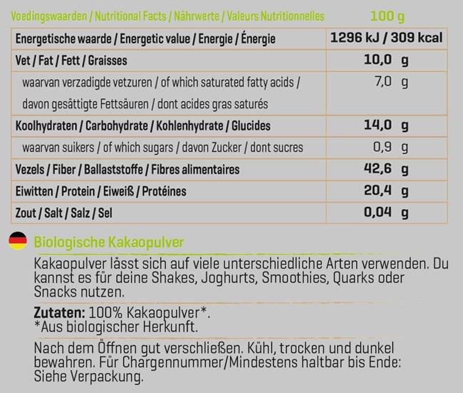 Kakaopulver Biologisch Nutritional Information 1