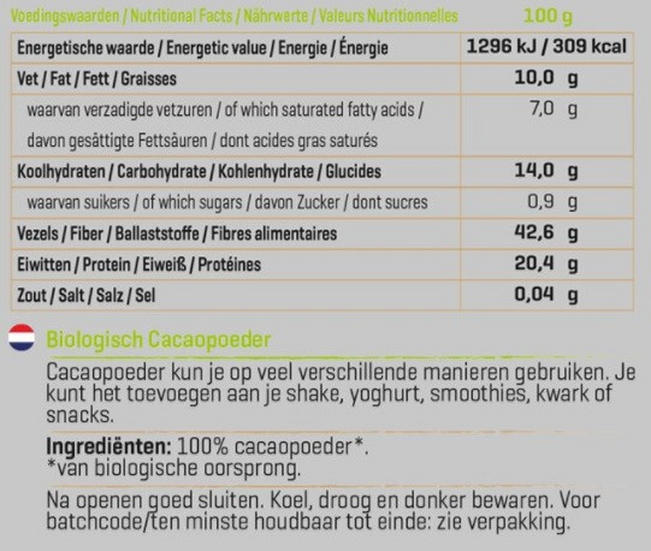 Cacao Poeder Biologisch Nutritional Information 1