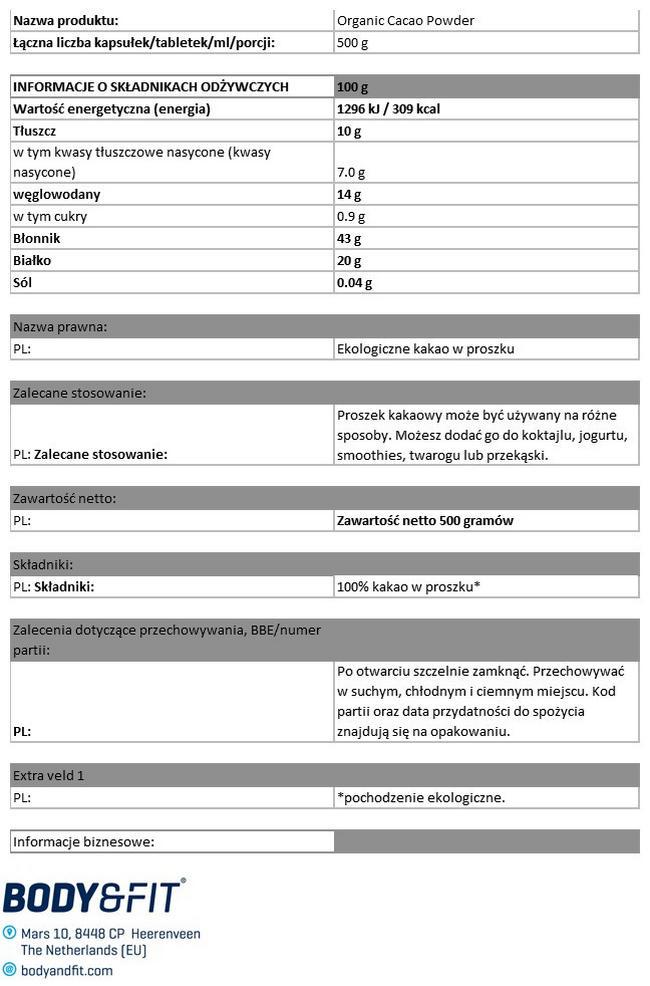 Ekologiczne kakao w proszku Nutritional Information 1