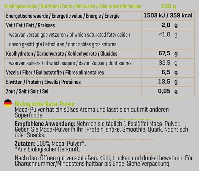 Biologisches Maca-Pulver Nutritional Information 1