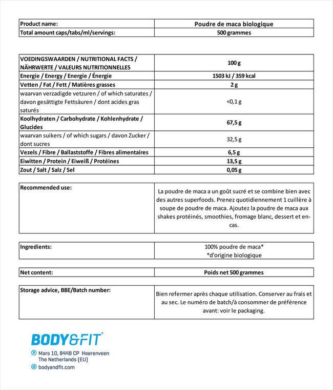 Poudre de maca bio Maca Powder Nutritional Information 1