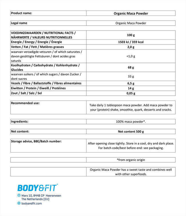 マカパウダーオーガニック Nutritional Information 1