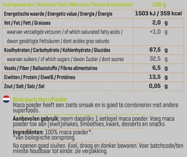 Maca Poeder Biologisch Nutritional Information 1