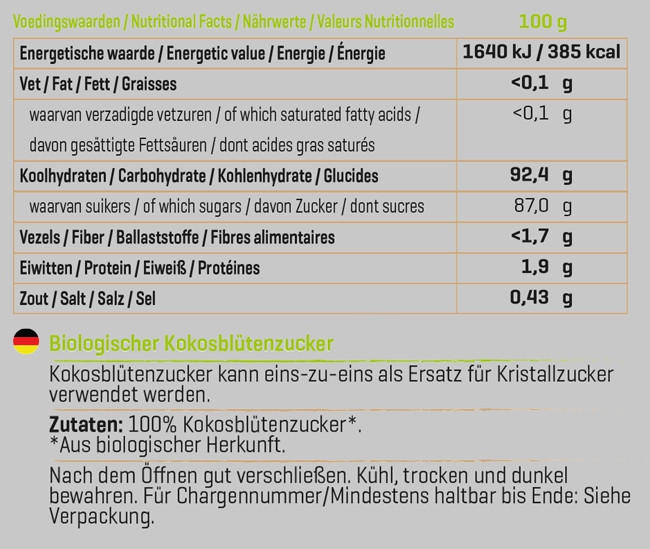 Kokosblütenzucker Nutritional Information 1
