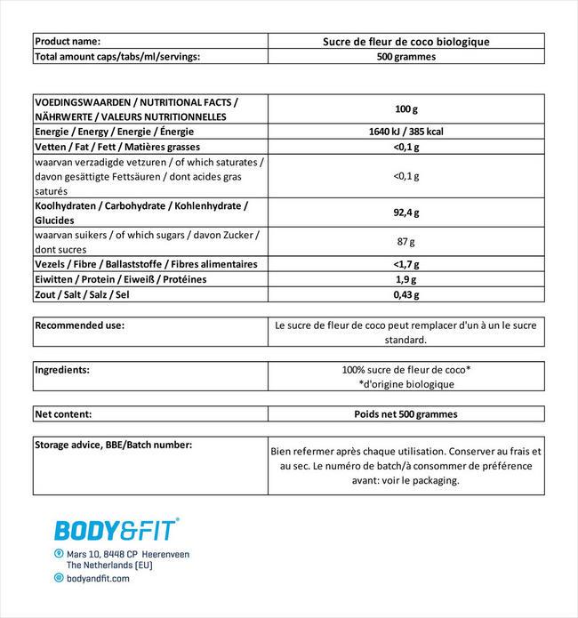 Sucre de fleur de coco biologique Nutritional Information 1