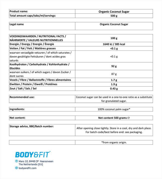 オーガニックココナッツブロッサムシュガー Nutritional Information 1