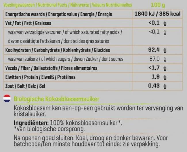 Kokosbloesemsuiker Biologisch Nutritional Information 1