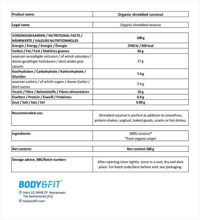 Biologisches, gemahlenes Kokos Nutritional Information 2