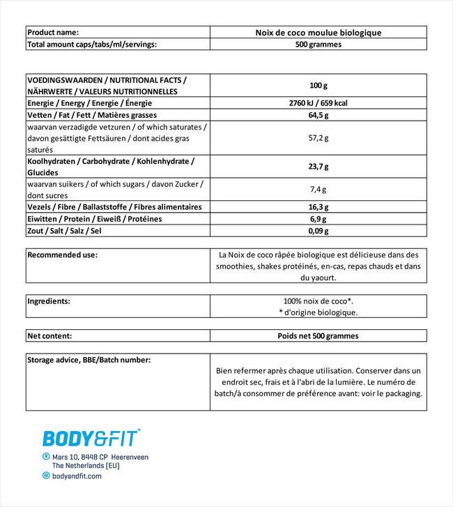 Biologisches, gemahlenes Kokos Nutritional Information 3