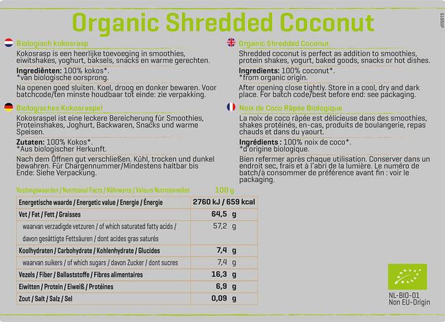 Biologisches, gemahlenes Kokos Nutritional Information 1