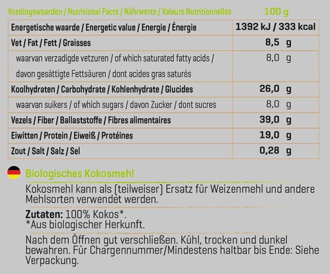 Biologisches Kokosmehl Nutritional Information 1