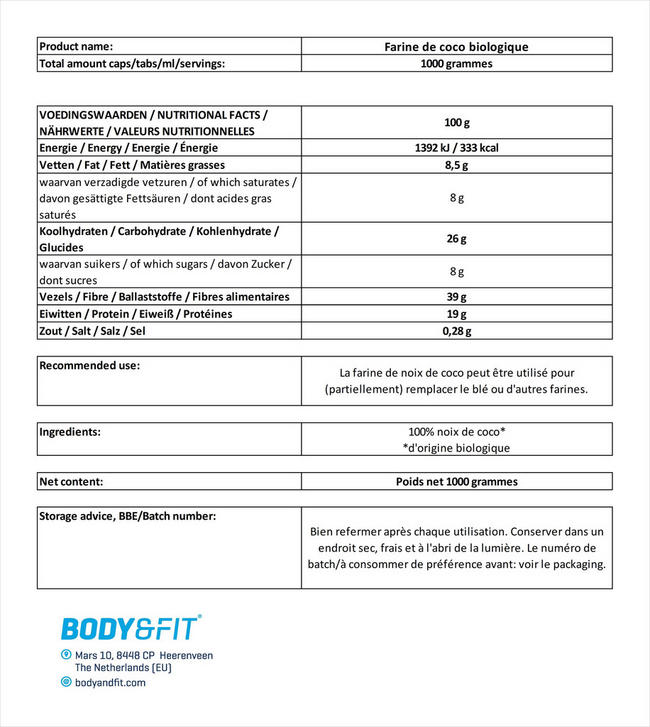 Farine de coco biologique Nutritional Information 1